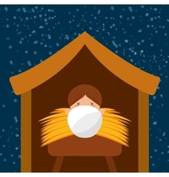 happy merry christmas manger character vector image