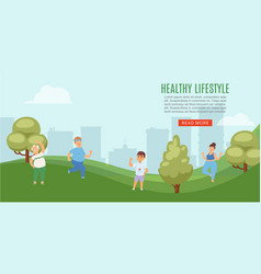 healthy lifestyle people in city park doing sport vector image