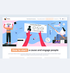 how to start cause and engage people business web vector image