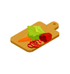 isometric icon of wooden cutting board with vector image