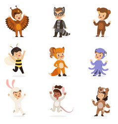 kinds in animal costume disguise happy and ready vector image