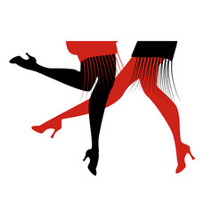 Legs of two flapper girls wearing retro dresses vector