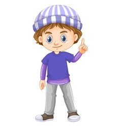 Little boy wearing blue shirt vector