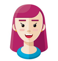 Long purple hair girl flat icon vector