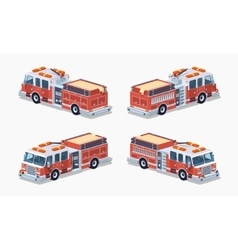 Low poly fire truck vector