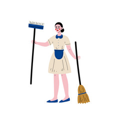 Maid standing with mop and broom cleaning lady vector