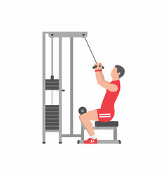 Man doing heavy weight exercise for back vector