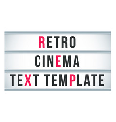 Marquee sign lightbox signage retro cinema or vector
