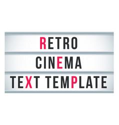Marquee sign lightbox signage retro cinema vector