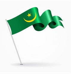 Mauritanian pin wavy flag vector