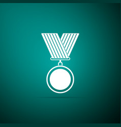medal icon on green background winner symbol vector image