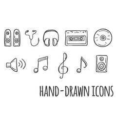 Music hand drawn icons vector