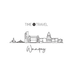 one continuous line drawing winnipeg city skyline vector image