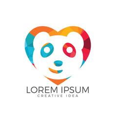 panda heart shape design vector image