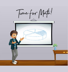 Phrase time for math with math teacher in vector