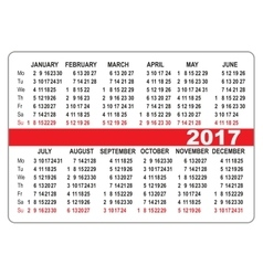 Pocket calendar 2017 First day Monday vector
