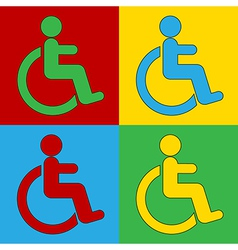 Pop art disabled sign icons vector