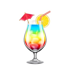 Rainbow cocktail isolated on white vector image