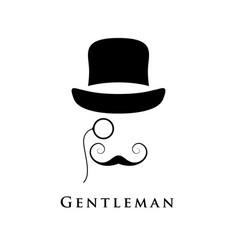 Retro gentleman with hat an eyepiece vector