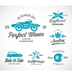 Retro Style Surfing Labels Logos or T vector image