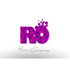 Ro r o dots letter logo with purple bubbles vector