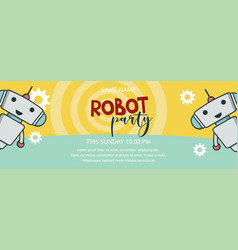 robot party promo banner vector image