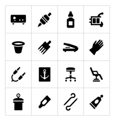 set icons tattoo equipment and accessories vector image