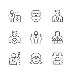 set line icons business people vector image