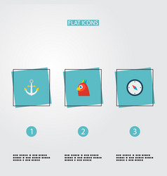 Set piracy icons flat style symbols with anchor vector