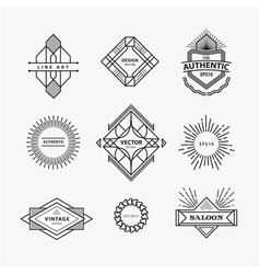 Set vintage linear thin line geometric shape vector