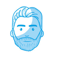 Silhouette nice face man with beard and hairstyle vector