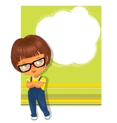 Smart schoolgirl wearing glasses Text frame vector image