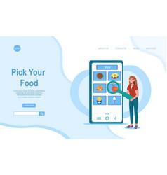 smiling female character is choosing meal in food vector image