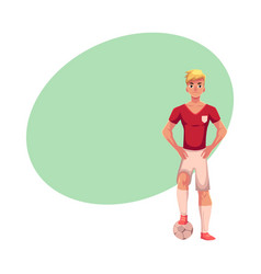 soccer player in uniform standing one foot on vector image