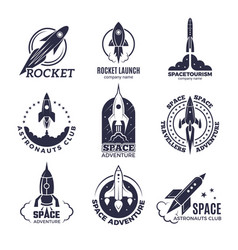 Space logotypes rockets and flight shuttle moon vector