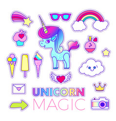 Stickers set with unicorn rainbow star comet vector