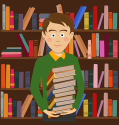 student boy holds stack of books in library vector image