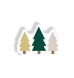 Stylish icon in paper sticker style Landscape Fir vector