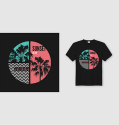 sunset blvd california t-shirt and apparel trendy vector image