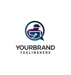 technician logo design concept template vector image