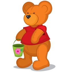 teddy bear with pail in red vector image
