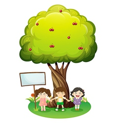 Three kids standing under the tree with an empty vector