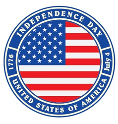 vintage label with independence day usa vector image