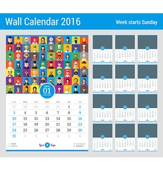 Wall Calendar for 2016 Year Stationery Design vector
