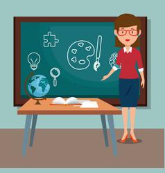 Woman teacher in the classroom vector