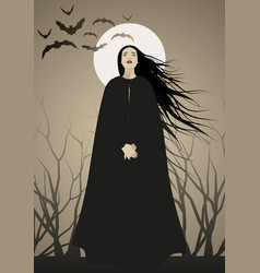 Woman with long black hair dressed in black vector