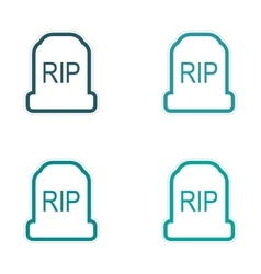assembly sticker bright headstone on a white vector image vector image