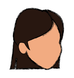 face female character hair default image vector image vector image