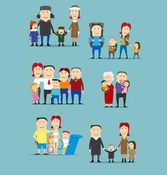 family activities cartoon characters set vector image