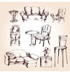 Furniture sketch set vector image vector image